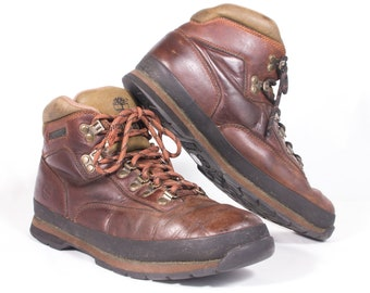 VTG 90s Brown Leather Hiking Boots size 9 1/2 Men's