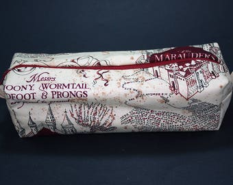 Boxy Makeup Bag - Messrs Moony, Wormtail, Padfoot, and Prongs Marauder's Map Print- Pencil Pouch - Harry Potter