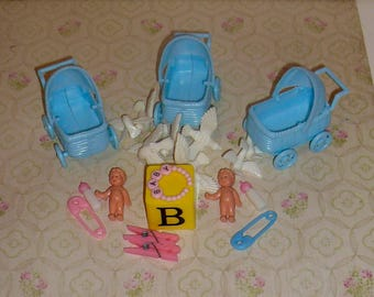 Baby Shower New Baby Miniature Display Baby Carriage Bottle Doves Decor Centerpiece by VintageStudioSupply