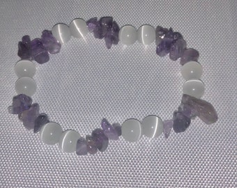 Amethyst Chip and Catseye Bracelet