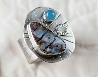 Boulder Opal Statement Ring with Blue Chalcedony Handmade in Sterling Silver Size 6.5