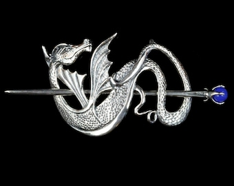 Dragon Hair Barrette Renaissance Hair Accessories Silver Wyvern Dragon Hair Stick Dragon Jewelry Game Of Thrones Inspired Hair Jewelry