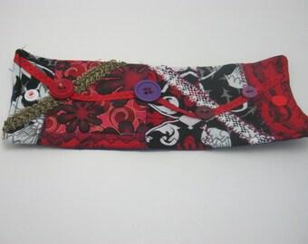 Gothic/Red/Black/Patchwork/Dark/Gothic Fabric/Button/Fabric Art/Fiber Art/Goth Bracelet/Goth Cuff-Gift
