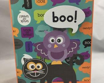 Halloween Greeting Card - Black Cat Halloween Owl Halloween Card Boo Halloween Card
