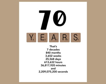 70th Birthday Card, Milestone Birthday Card, The Big 70, 70 Birthday, 1948 Birthday Card
