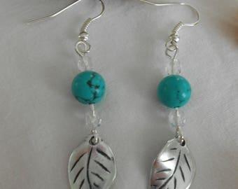 BO 403 - Turquoise leaf earrings
