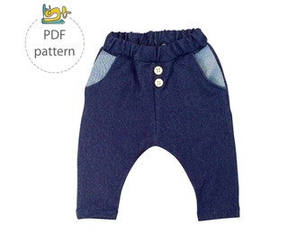 Baby sewing pattern, pants sewing pattern , pocket pants pattern , digital pattern and tutorial, instant download