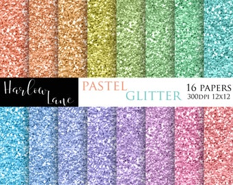 75% OFF SALE Pastel Glitter Digital Paper, Scrapbooking Digital Paper, Invitation Papers