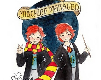 The Weasley Twins - Original Watercolor Painting - The Marauders Map - Harry Potter Painting- Book lovers - Fandom art - Gifts for Booknerds