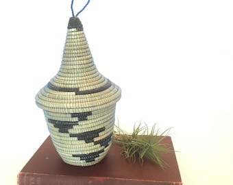 Vintage African Style Woven Basket with Lid | Blue and Beige