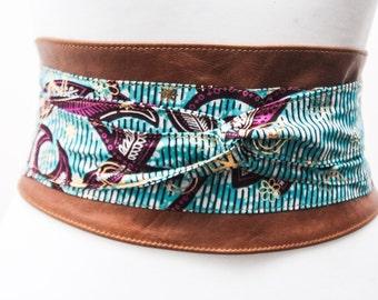 Tan Leather Ankara Turquoise Pink Gold Print Obi Belt |Ankara Wax Print|Leather tie belt| Corset Belt| Unique Belt |Plus size belts