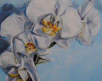 White Orchids 051 - Floral Oil Painting