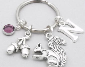 Squirrel with acorn monogram keyring | squirrel keychain | personalised squirrel keyring | squirrel accessory | squirrel gift | letter