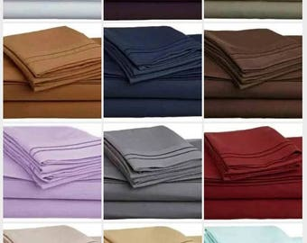 Personalized and embroidered 1500-1800 thread ct sheet sets - ALL SIZES, multiple colors