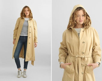 Fred Perry Hooded Trench Coat in Sand Color, Designer Beige Belted Trench-Coat  / Size Small to Medium