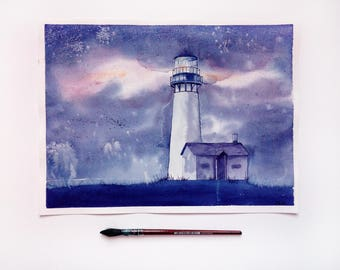 Lighthouse art Purple Celestial watercolor landscape mom from daughter Lighthouse original watercolor painting