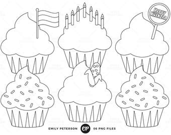 Kwanzaa Digital Stamps, Cupcakes Line Art, Holiday Cupcakes Clip Art - Commercial Use, Instant Download