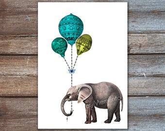 elephant balloon, nursery art, elephant baby shower