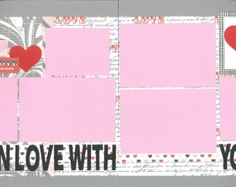 12x12 SO IN LOVE with you scrapbook page kit, 12x12 premade scrapbook page, love scrapbook page, scrapbook page kits, 12x12 scrapbook layout
