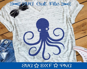 Octopus SVG Cut File, Nautical Cut File, Ocean Svg, Cutting File, Squid Svg, Animal Cut File, Marine Life Svg