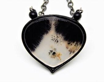 Dendritic Agate leather pendant, black white jewelry, teardrop leather pendant,  dendritic agate, dendritic opal pendant, merlinite pendant