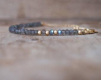 Labradorite Bracelet, Mom Gift for Her, Gemstone Bracelet, Beaded Bracelet, Boho Bracelet, Blue Labradorite Jewelry, Stacking Bracelet