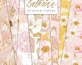 Princess Ballerina Digital Papers | Flowers Glitter Gold Crown Tiara Ballet shoes pattern designs  | graphics planner stickers resources