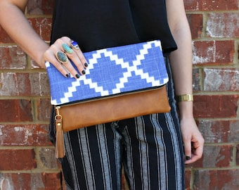 Blue Foldover Clutch / Kindle Case