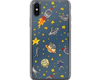 Space Cats Case for iPhone 6 7 8 X Plus, Cute Cats, Kitty Phone Case, Phone Accessory, Phone Case, Cute Phone, Cat Lover Gift, Outer Space
