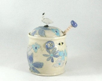 Honey Pot with Dipper Honey Jar Ceramic Kitchen Storage Jar ceramics and pottery Honey Dipper Ceramic Swan 9th Anniversary Gift