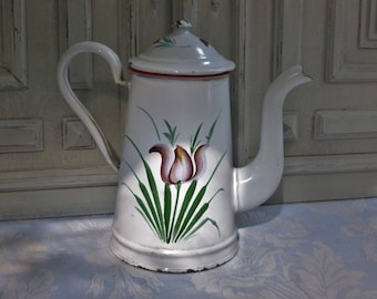 Enamel cafetiere coffee pot, French jug, beautiful vintage, white and red, tulip flowers, 1930's,  enamelware, antique country kitchen chic