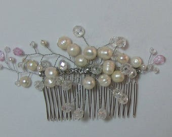 NEW - Silver Comb with Swarovski Crystals and Freshwater Pearls
