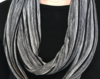 Infinity Scarf Black White and Gray Stripe
