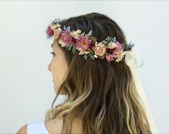 Pink Wildflower Flower Crown, Bridal Flower Crown, Floral Headpiece, Woodland Wedding, Crown, Floral Crown, Bohemian Bride, Blush Pink