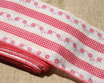"Vintage Red Gingham Calico Fabric Trim 5"" Wide"