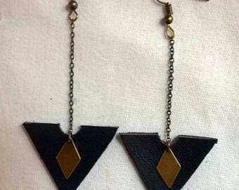 Navy blue leather triangle earrings