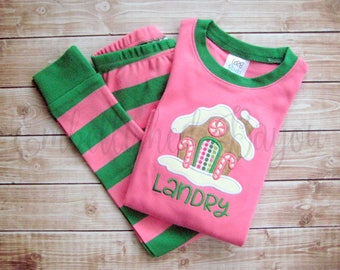 Gingerbread House Applique Christmas Pajamas with name, Pink & Green Stripe Personalized for Girls