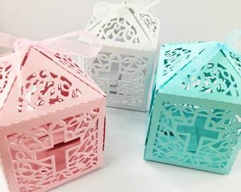 12 pc cross laser cut pink/blue /white wedding bridal favor box christening baby shower / baptism favor gift box/religious gift box