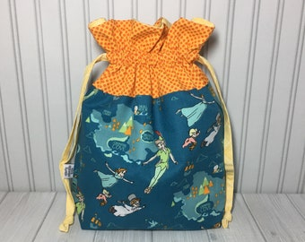 Large Drawstring Knitting Crochet Project Bag - Peter Pan
