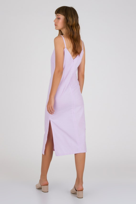 Summer Linen Summer Midi Open Dress Dress Back Dress Lilac fit Dress Lilac Evening Summer Women Sleeveless Loose Casual Day Dress to 05qd0B