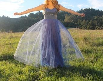 CHICKORY Vintage 1950's Party Dress  Boned Bodice Sky Blue Velvet and Tulle Strapless Princess Cut