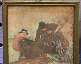 Double sided 19th century fishermen art