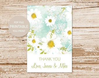 personalized daisy favor tags . camomile daisies favor stickers . PRINTABLE floral thank you tags . flower gift tags . digital YOU PRINT