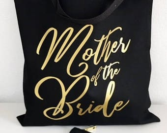 Gold Foil Bridal Party Tote - Custom Makeup Bag - Bridesmaid Tote Bag - Bridal Party Gifts - Wedding Bag - Canvas Tote Bag - Bridal Tote