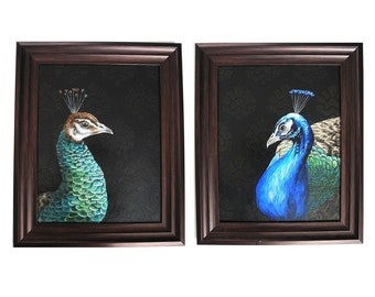 Peacock and Peahen - framed peacock paintings - realistic peacocks - traditional canvas painting - damask pattern - formal decor - fine art