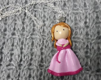 Necklace pink doll