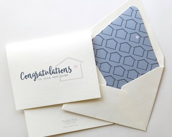Congratulations on Your New Home - Real Estate Agent Card- Realtor Card - Moving - Slate Blue and Navy