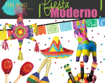 Fiesta Moderno Digital Clip Art, Wedding, INSTANT download, Hand Drawn Illustrations, PNG, Banner, Pinata, Digital Drawing, scrapbook