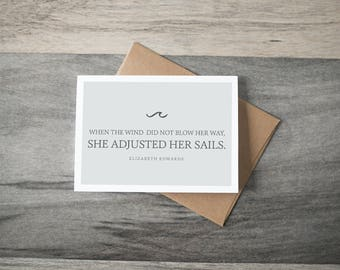 "Encouragement ""She Adjusted her Sails"" Card - simple script"