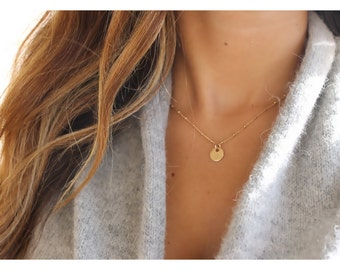 gold disk initial jewelry • satellite chain necklace • personalized necklace • gold initial necklace • minimalist necklace • B076
